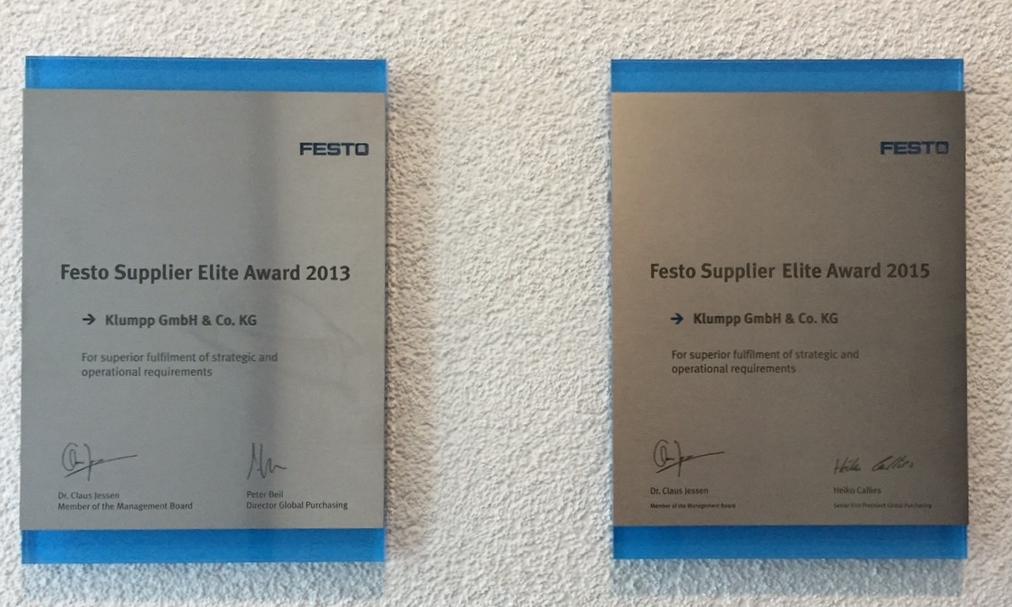 auszeichnung festo elite supplier award - Festo Bewerbung